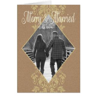 Cartão Feliz do damasco & vintage casado do país