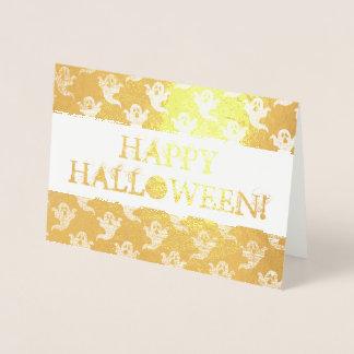Cartão feliz do Dia das Bruxas com teste padrão do