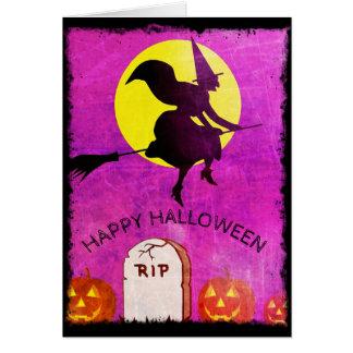 Cartão feliz do Dia das Bruxas da Lua cheia de