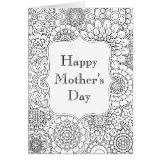 Cartão feliz do dia das mães (coloração adulta)