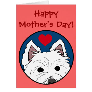 Cartão feliz do dia das mães do coração de Westie