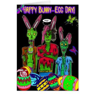 cartão feliz do dia do coelho-ovo
