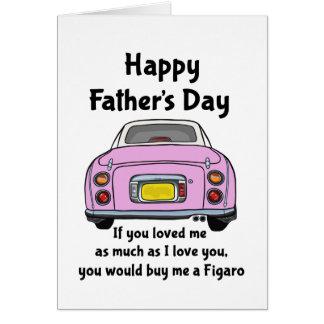 Cartão feliz do dia dos pais do carro cor-de-rosa