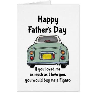Cartão feliz do dia dos pais do carro verde de