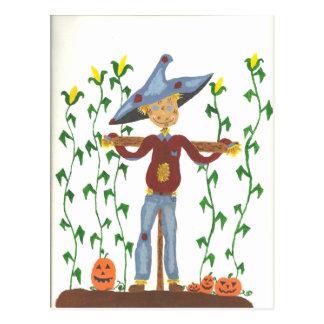 Cartão feliz do espantalho da acção de graças cartão postal