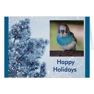 Cartão feliz do feriado do Parakeet