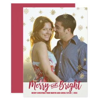 Cartão Feliz do floco de neve do ouro e foto brilhante do