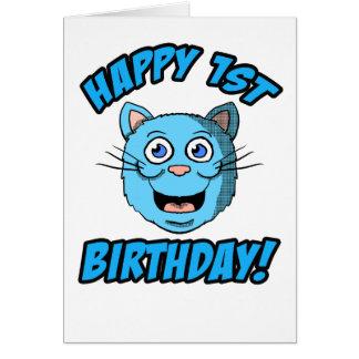 Cartão feliz do gato azul do primeiro aniversario