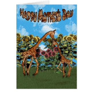 Cartão feliz do girafa do dia das mães