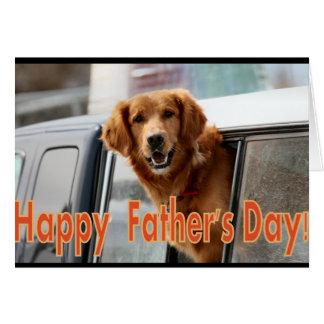 Cartão feliz do golden retriever do dia dos pais