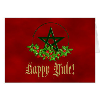 Cartão feliz do Pentacle do azevinho de Yule