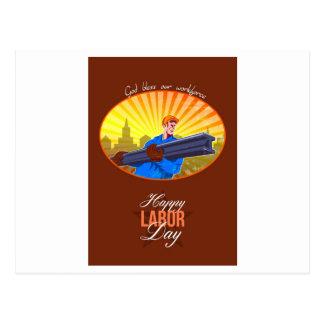 Cartão feliz do trabalhador de aço do Dia do