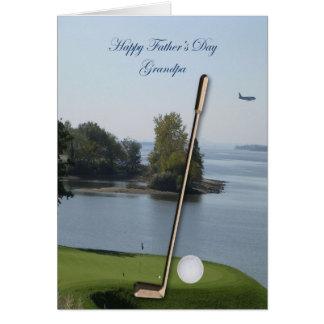 Cartão feliz do vovô do golfe do dia dos pais -