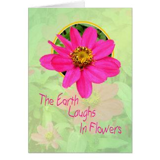 Cartão feliz do Zinnia cor-de-rosa