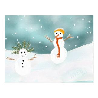 Cartão feliz dos bonecos de neve