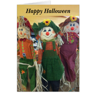 Cartão feliz dos espantalhos do Dia das Bruxas