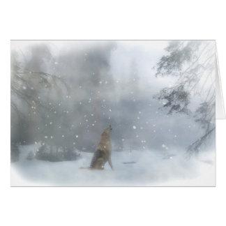 Cartão feliz engraçado do feriado do lobo e da