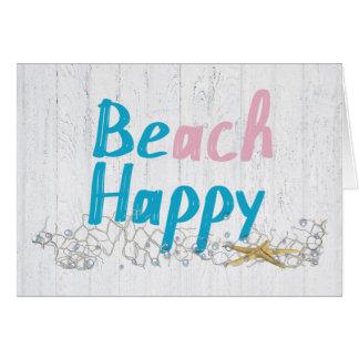 Cartão Feliz-estrela do mar da praia na rede