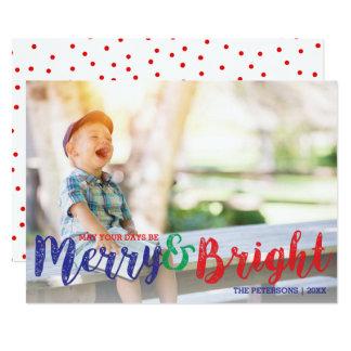 Cartão Feliz moderna do Natal e foto brilhante do feriado