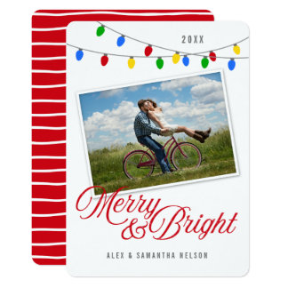 Cartão Feliz moderna & foto brilhante das luzes de Natal