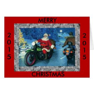 Cartão Feliz Natal 2015 papais noeis em uma motocicleta