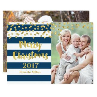 Cartão Feliz Natal 2017 das listras azuis dos confetes do