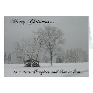 Cartão Feliz Natal a uma caros filha e genro