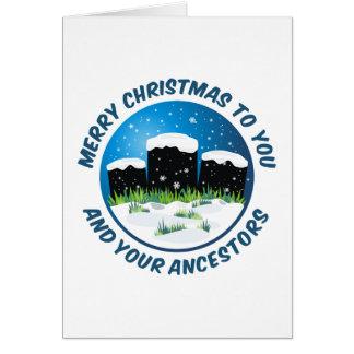 Cartão Feliz Natal a você e a seus antepassados