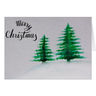 Cartão Feliz Natal, aguarela da árvore de Natal