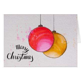 Cartão Feliz Natal, aguarela das bolas do Natal
