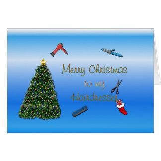 Cartão Feliz Natal ao hairstylist do cabeleireiro