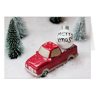 Cartão Feliz Natal, árvore de Natal, automóvel do Xmas da