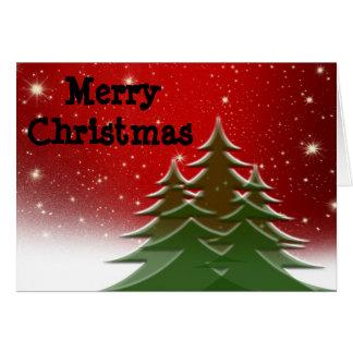 Cartão Feliz Natal, árvores, de nossa família