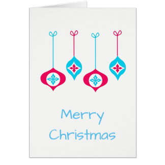 Cartão Feliz Natal azul e vermelho dos enfeites de natal