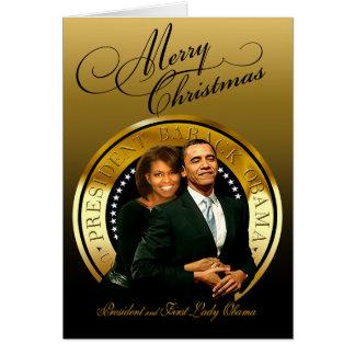 Cartão Feliz Natal Barack e Michelle Obama