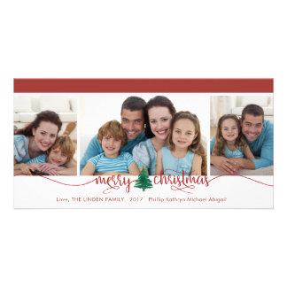 Cartão Feliz Natal, beira vermelha variável