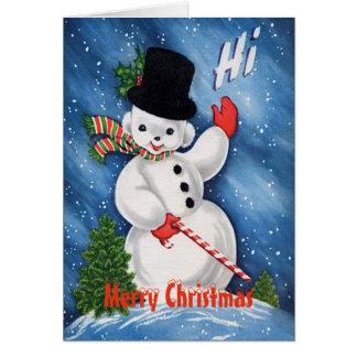 Cartão Feliz Natal bonito do boneco de neve do vintage