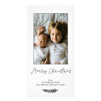 Cartão Feliz Natal branco preto simples