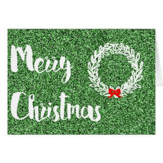 Cartão Feliz Natal (brilho verde escuro do falso)