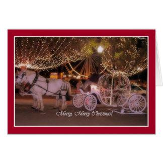 Cartão FELIZ NATAL! - Carruagem branca & cavalos brancos