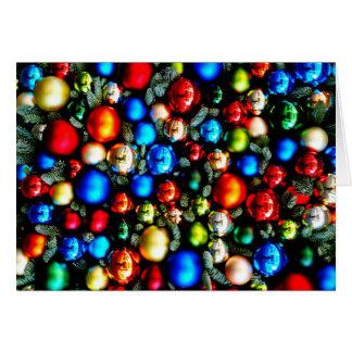 Cartão Feliz Natal, colorfull das bolas do Natal
