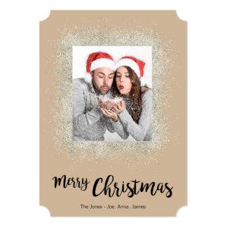 Cartão Feliz Natal com quadro de prata do brilho