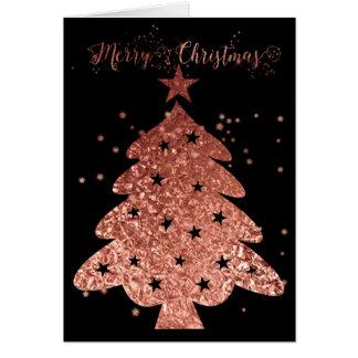 Cartão Feliz Natal cor-de-rosa e encanto preto