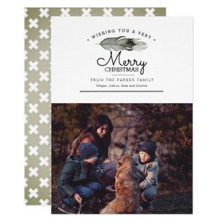 Cartão Feliz Natal da aguarela da pena | de Boho