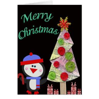 Cartão Feliz Natal da árvore do pinguim & de Natal