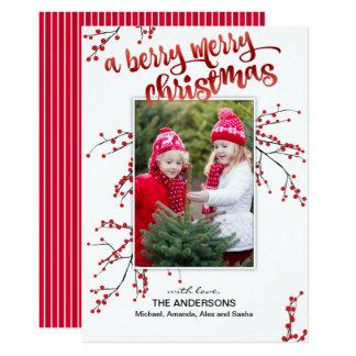 Cartão Feliz Natal da baga com sua foto