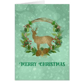 Cartão Feliz Natal da grinalda do ramo dos cervos e do