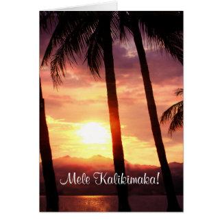 Cartão Feliz Natal de Havaí Mele Kalikmaka