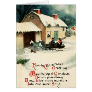 Cartão Feliz Natal do cavalo & do carrinho do vintage
