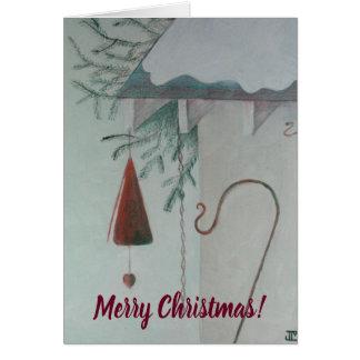 Cartão Feliz Natal do gancho e do carrilhão